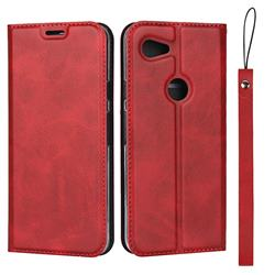 Calf Pattern Magnetic Automatic Suction Leather Wallet Case for Google Pixel 3A - Red