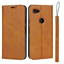 Calf Pattern Magnetic Automatic Suction Leather Wallet Case for Google Pixel 3A - Brown