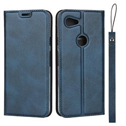 Calf Pattern Magnetic Automatic Suction Leather Wallet Case for Google Pixel 3A - Blue