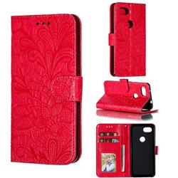 Intricate Embossing Lace Jasmine Flower Leather Wallet Case for Google Pixel 3A - Red