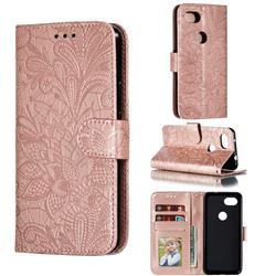 Intricate Embossing Lace Jasmine Flower Leather Wallet Case for Google Pixel 3A - Rose Gold