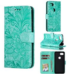Intricate Embossing Lace Jasmine Flower Leather Wallet Case for Google Pixel 3A - Green