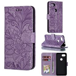 Intricate Embossing Lace Jasmine Flower Leather Wallet Case for Google Pixel 3A - Purple