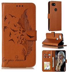 Intricate Embossing Lychee Feather Bird Leather Wallet Case for Google Pixel 3A - Brown