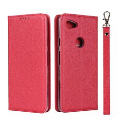 Ultra Slim Magnetic Automatic Suction Silk Lanyard Leather Flip Cover for Google Pixel 3A - Red