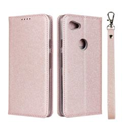 Ultra Slim Magnetic Automatic Suction Silk Lanyard Leather Flip Cover for Google Pixel 3A - Rose Gold