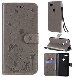 Embossing Bee and Cat Leather Wallet Case for Google Pixel 3A - Gray