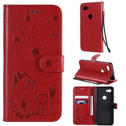 Embossing Bee and Cat Leather Wallet Case for Google Pixel 3A - Red