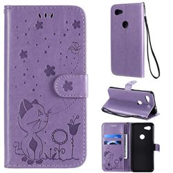 Embossing Bee and Cat Leather Wallet Case for Google Pixel 3A - Purple