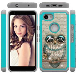 Sweet Gray Owl Studded Rhinestone Bling Diamond Shock Absorbing Hybrid Defender Rugged Phone Case Cover for Google Pixel 3A XL