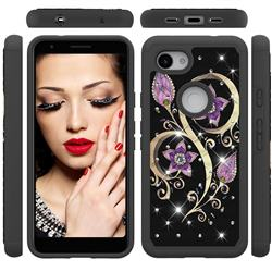 Peacock Flower Studded Rhinestone Bling Diamond Shock Absorbing Hybrid Defender Rugged Phone Case Cover for Google Pixel 3A XL
