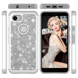 Glitter Rhinestone Bling Shock Absorbing Hybrid Defender Rugged Phone Case Cover for Google Pixel 3A XL - Gray