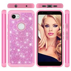 Glitter Rhinestone Bling Shock Absorbing Hybrid Defender Rugged Phone Case Cover for Google Pixel 3A XL - Pink