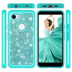 Glitter Rhinestone Bling Shock Absorbing Hybrid Defender Rugged Phone Case Cover for Google Pixel 3A XL - Green