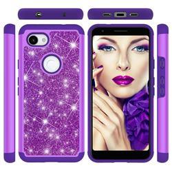 Glitter Rhinestone Bling Shock Absorbing Hybrid Defender Rugged Phone Case Cover for Google Pixel 3A XL - Purple