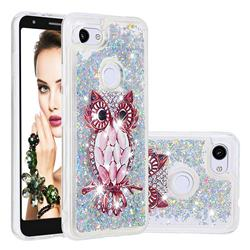 Seashell Owl Dynamic Liquid Glitter Quicksand Soft TPU Case for Google Pixel 3A XL