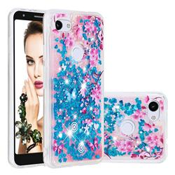 Blue Plum Blossom Dynamic Liquid Glitter Quicksand Soft TPU Case for Google Pixel 3A XL
