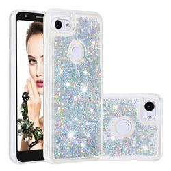 Dynamic Liquid Glitter Quicksand Sequins TPU Phone Case for Google Pixel 3A XL - Silver