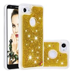 Dynamic Liquid Glitter Quicksand Sequins TPU Phone Case for Google Pixel 3A XL - Golden