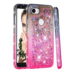 Diamond Frame Liquid Glitter Quicksand Sequins Phone Case for Google Pixel 3A XL - Gray Pink