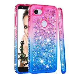 Diamond Frame Liquid Glitter Quicksand Sequins Phone Case for Google Pixel 3A XL - Pink Blue