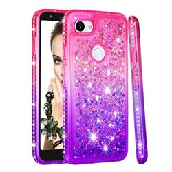 Diamond Frame Liquid Glitter Quicksand Sequins Phone Case for Google Pixel 3A XL - Pink Purple