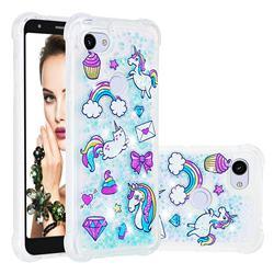 Fashion Unicorn Dynamic Liquid Glitter Sand Quicksand Star TPU Case for Google Pixel 3A XL