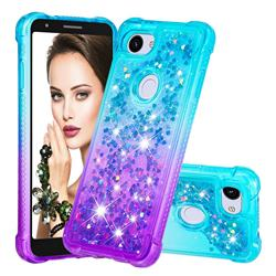 Rainbow Gradient Liquid Glitter Quicksand Sequins Phone Case for Google Pixel 3A XL - Blue Purple