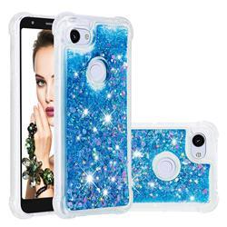 Dynamic Liquid Glitter Sand Quicksand TPU Case for Google Pixel 3A XL - Blue Love Heart