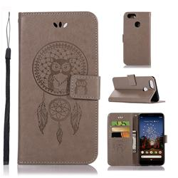 Intricate Embossing Owl Campanula Leather Wallet Case for Google Pixel 3A XL - Grey