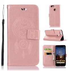 Intricate Embossing Owl Campanula Leather Wallet Case for Google Pixel 3A XL - Rose Gold