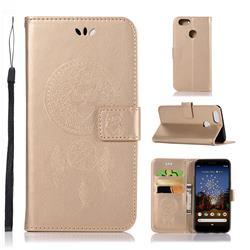 Intricate Embossing Owl Campanula Leather Wallet Case for Google Pixel 3A XL - Champagne