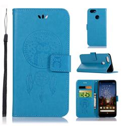Intricate Embossing Owl Campanula Leather Wallet Case for Google Pixel 3A XL - Blue