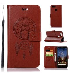 Intricate Embossing Owl Campanula Leather Wallet Case for Google Pixel 3A XL - Brown