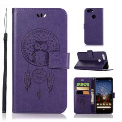 Intricate Embossing Owl Campanula Leather Wallet Case for Google Pixel 3A XL - Purple