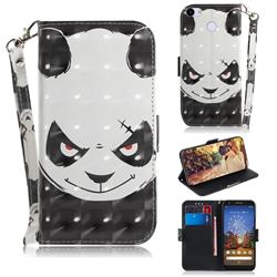 Angry Bear 3D Painted Leather Wallet Phone Case for Google Pixel 3A XL