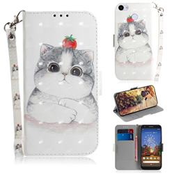 Cute Tomato Cat 3D Painted Leather Wallet Phone Case for Google Pixel 3A XL