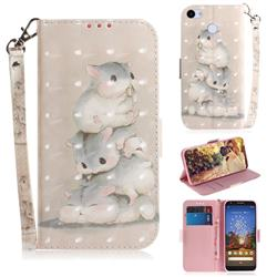 Three Squirrels 3D Painted Leather Wallet Phone Case for Google Pixel 3A XL