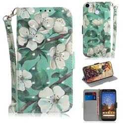 Watercolor Flower 3D Painted Leather Wallet Phone Case for Google Pixel 3A XL