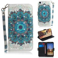 Peacock Mandala 3D Painted Leather Wallet Phone Case for Google Pixel 3A XL