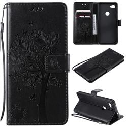 Embossing Butterfly Tree Leather Wallet Case for Google Pixel 3A XL - Black