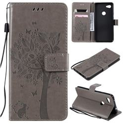 Embossing Butterfly Tree Leather Wallet Case for Google Pixel 3A XL - Grey