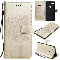 Embossing Butterfly Tree Leather Wallet Case for Google Pixel 3A XL - Champagne