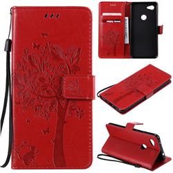Embossing Butterfly Tree Leather Wallet Case for Google Pixel 3A XL - Red