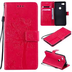 Embossing Butterfly Tree Leather Wallet Case for Google Pixel 3A XL - Rose