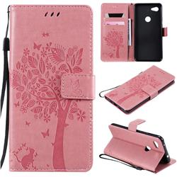Embossing Butterfly Tree Leather Wallet Case for Google Pixel 3A XL - Pink