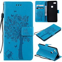 Embossing Butterfly Tree Leather Wallet Case for Google Pixel 3A XL - Blue