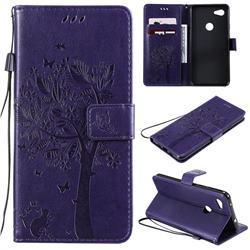 Embossing Butterfly Tree Leather Wallet Case for Google Pixel 3A XL - Purple