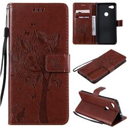 Embossing Butterfly Tree Leather Wallet Case for Google Pixel 3A XL - Coffee