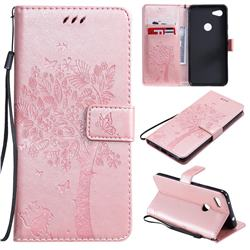 Embossing Butterfly Tree Leather Wallet Case for Google Pixel 3A XL - Rose Pink